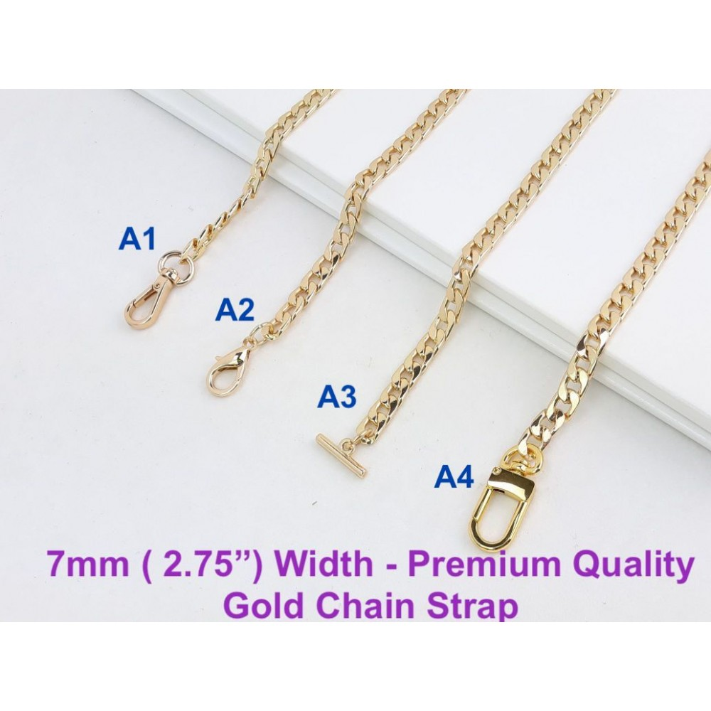 "7mm ( 0.27"") Width - Premium Quality Gold or Silver Chain Strap"
