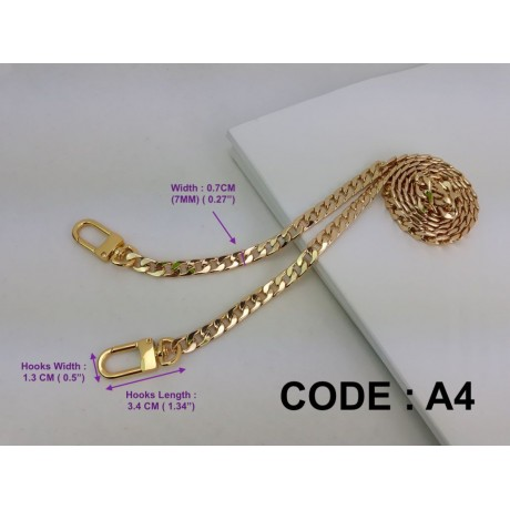 """7mm ( 0.27"""") Width - Premium Quality Gold or Silver Chain Strap"""
