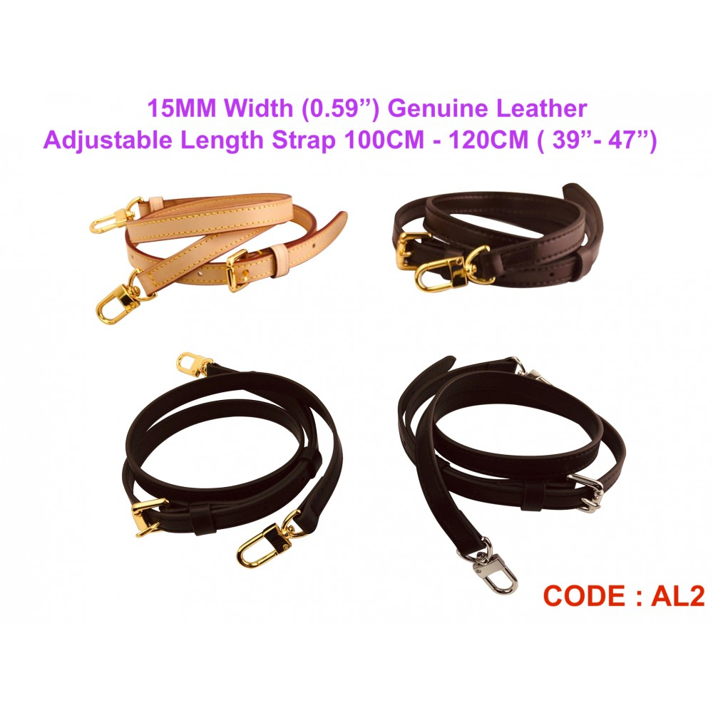 """15mm ( 0.59"""") Width - Real Leather Adjustable Length Strap"""