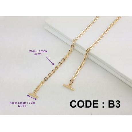 "6.5mm ( 0.26"") Width - Premium Quality Gold or Silver Chain Strap"