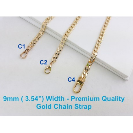 "9mm ( 0.35"") Width - Premium Quality Gold or Silver Chain Strap"