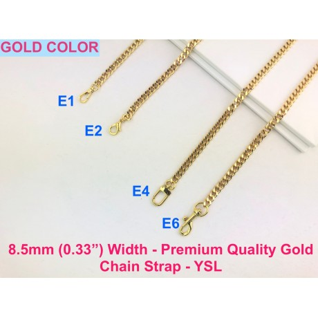 """8.5mm ( 0.33"""") Width - Premium Quality Gold or Silver Chain Strap - YSL"""