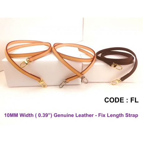 """10mm ( 0.39"""") Width - Genuine Leather Fix Length Strap"""