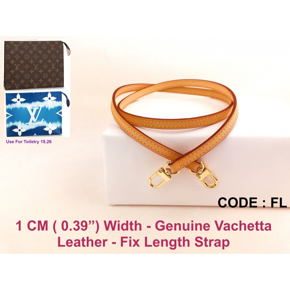 "LV Toiletry 19 or Toiletry 26 - 10mm (0.39"") Genuine Leather Fix Length Strap"