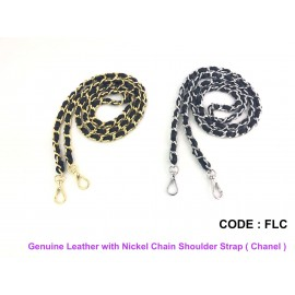 Genuine Leather with Nickel Chain Shoulder Strap ( Chanel )