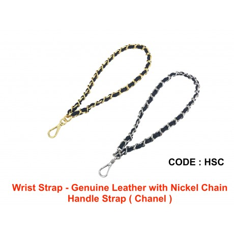 Wrist Strap - Genuine Leather with Nickel Chain Handle Strap ( Chanel )