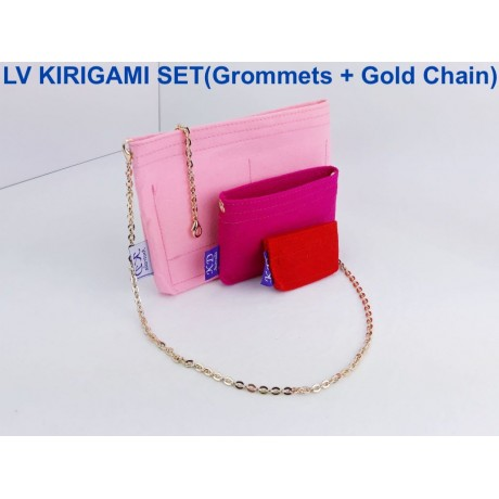 LV Kirigami ( 1 SET - 3 pieces ) With Grommets on LARGE & MEDIUM SIZE + Gold Chain