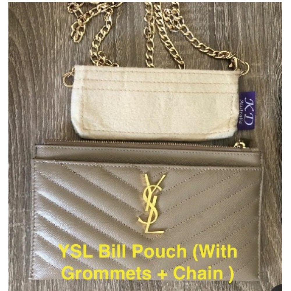YSL Monogram Bill Pouch ( With Grommets + Gold Chain )