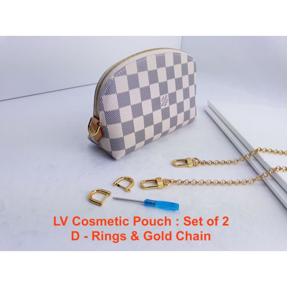 LV Cosmetic Pouch  ( D Ring & Gold Chain ) set of 2
