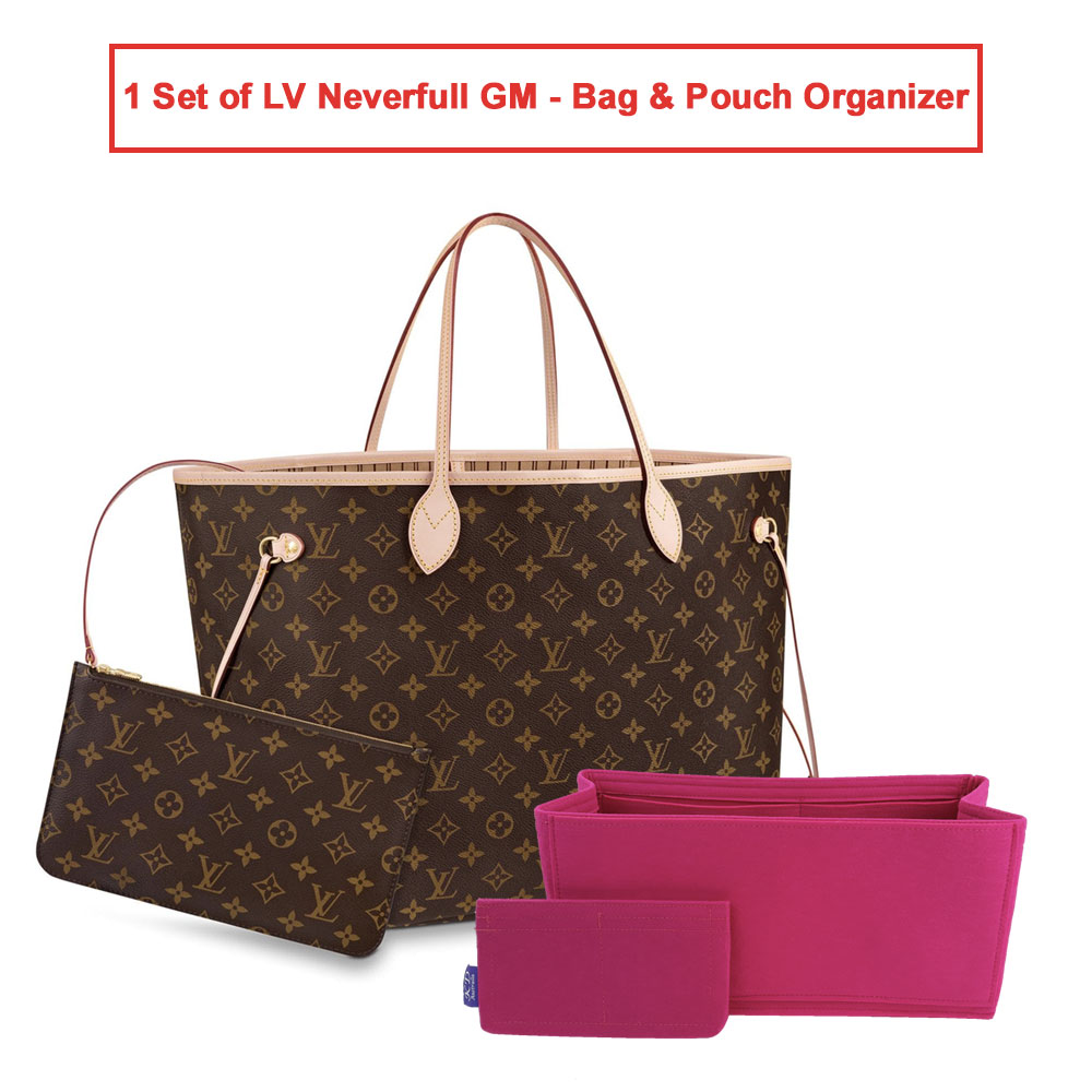 1 Set of LV Neverfull GM - Bag & Pouch Organizer