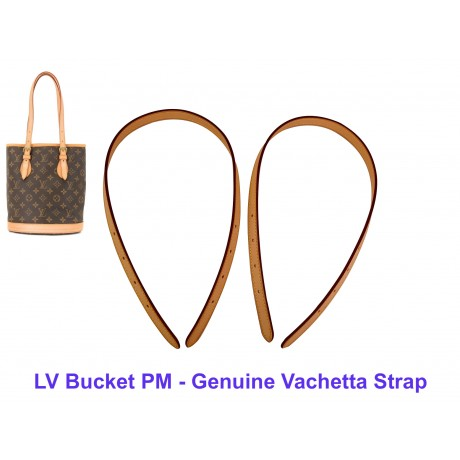 LV Bucket PM - Genuine Vachetta Leather Strap (Set of 2 Pieces)