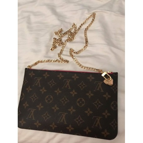 LV Neverfull Pouch ( for PM,MM or GM pouch ) set of 2 -  with Hook & Chain