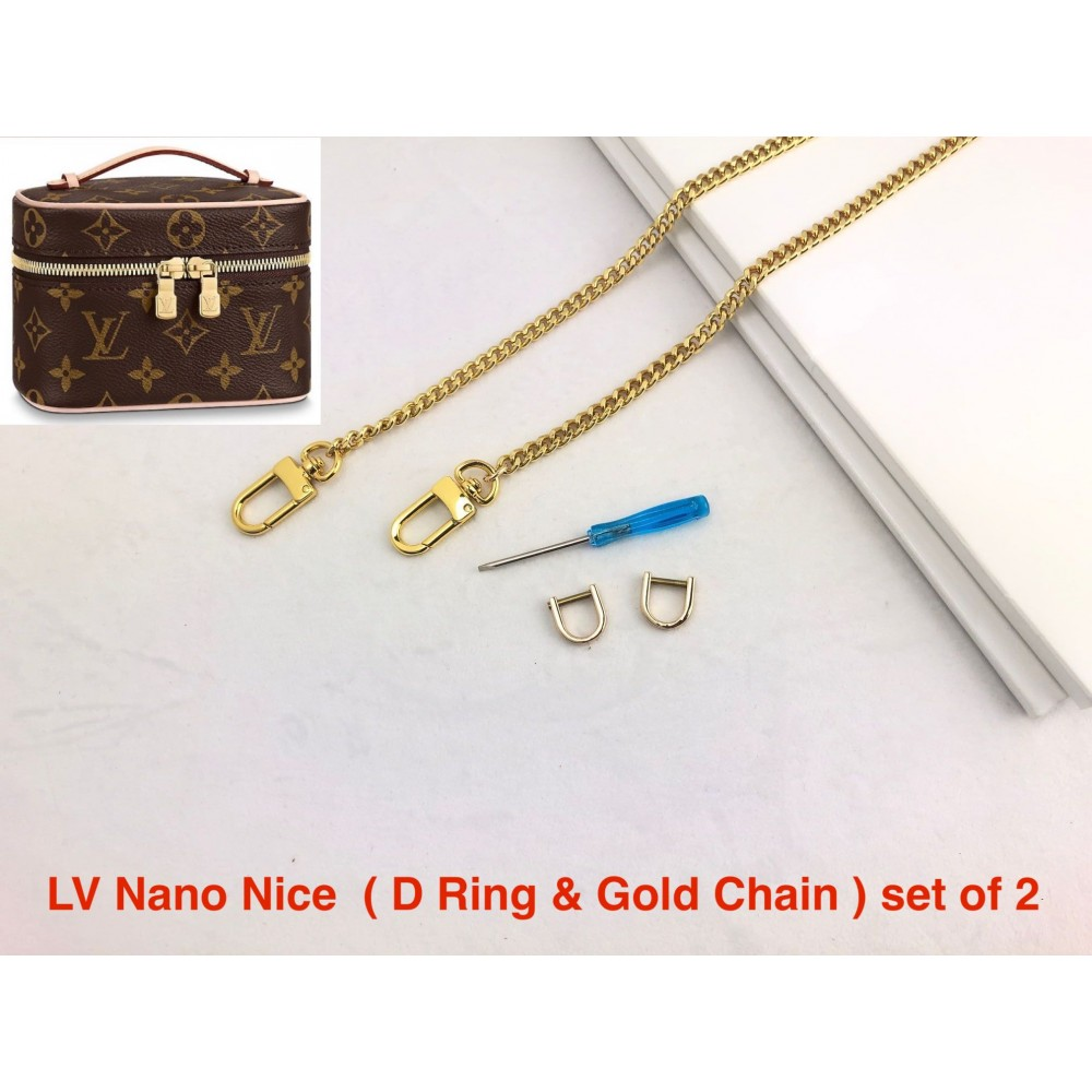 LV Nano Nice  ( D Ring & Gold Chain ) set of 2