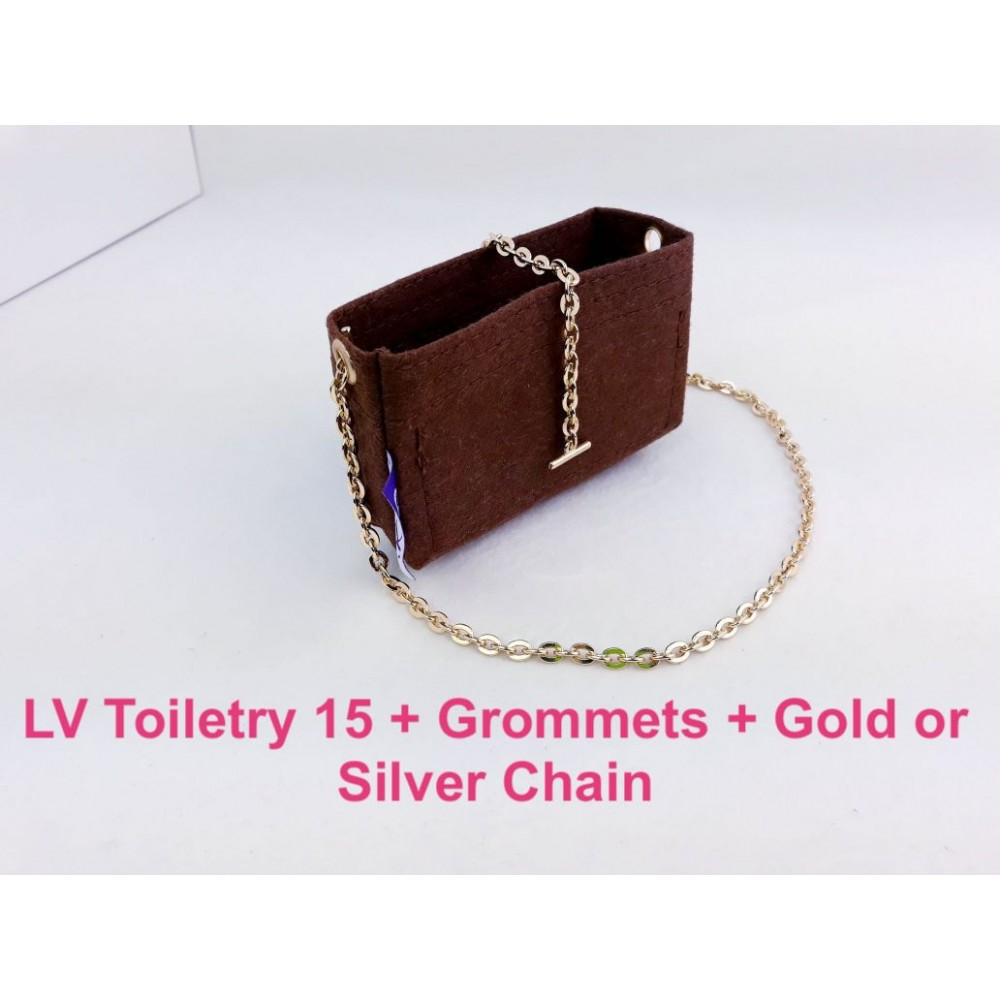 LV Toiletry 15 ( With Grommets + Gold or Silver Chain)