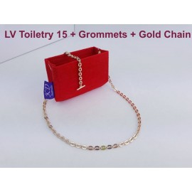LV Toiletry 15 ( With Grommets + Gold Chain)