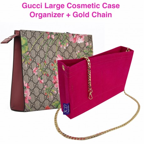 Gucci Large Cosmetic Case ( With Grommets + Gold Chain )