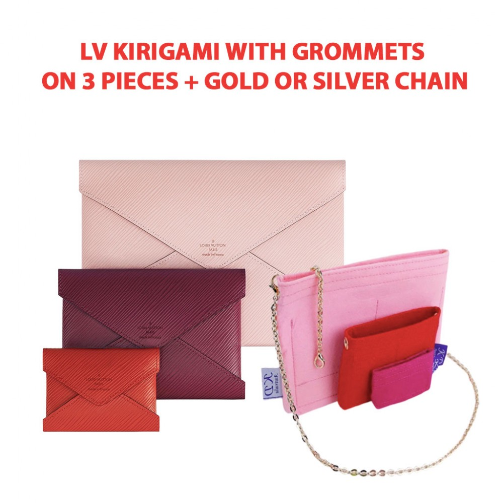 LV Kirigami ( 1 SET - 3 pieces ) With Grommets on 3 Pieces + Gold or Silver Chain